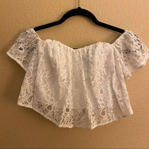 GUESS White Lace Crop Top